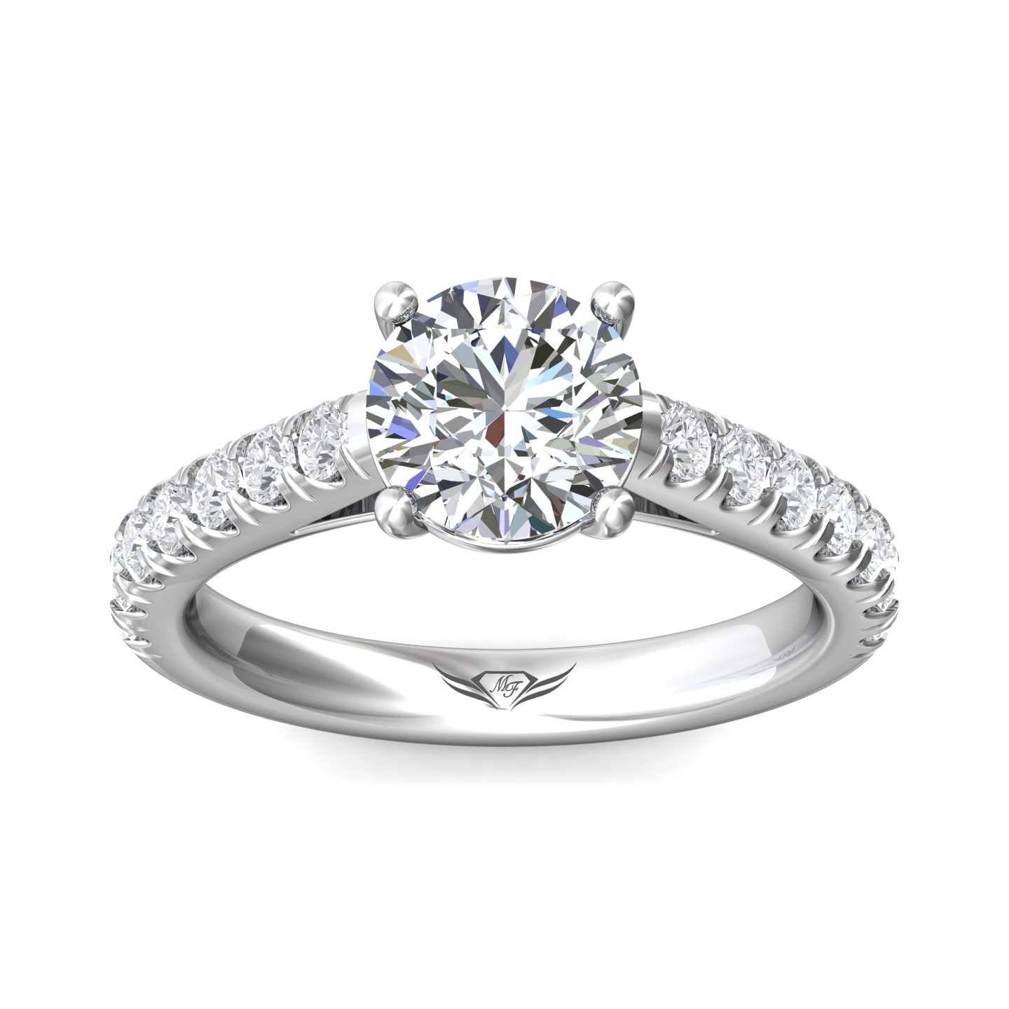 Rings - 14K White Gold FlyerFit Micropave Engagement Ring - image 3