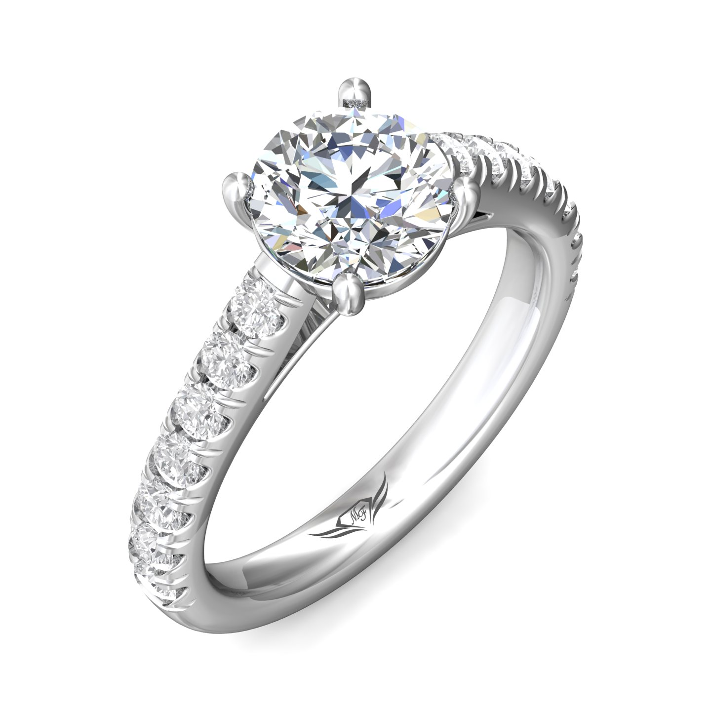 Rings - 14K White Gold FlyerFit Micropave Engagement Ring - image 5