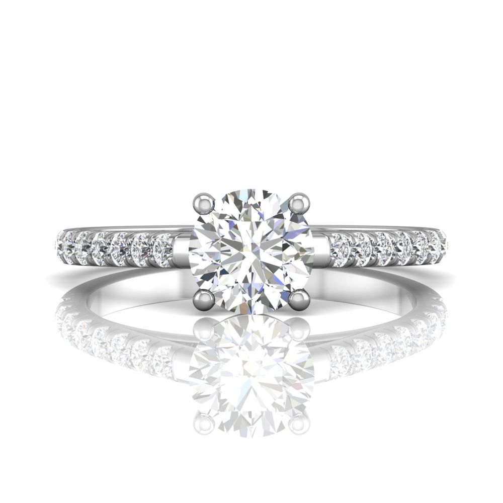 Rings - 14K White Gold FlyerFit Micropave Engagement Ring