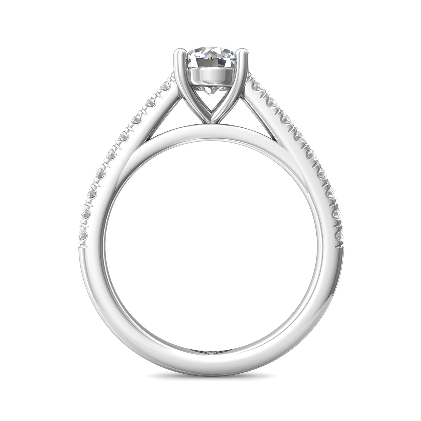 Rings - 14K White Gold FlyerFit Micropave Engagement Ring - image #2