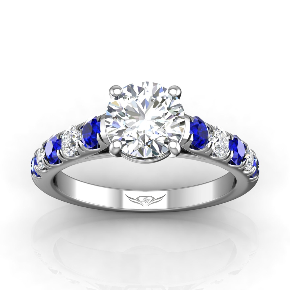 Rings - 14K White Gold FlyerFit Micropave Engagement Ring - image #3