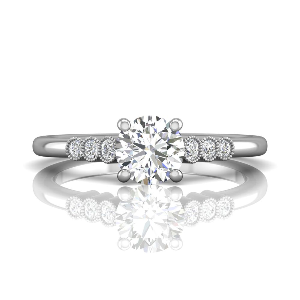 Rings - 14K White Gold FlyerFit Channel/Shared Prong Engagement Ring