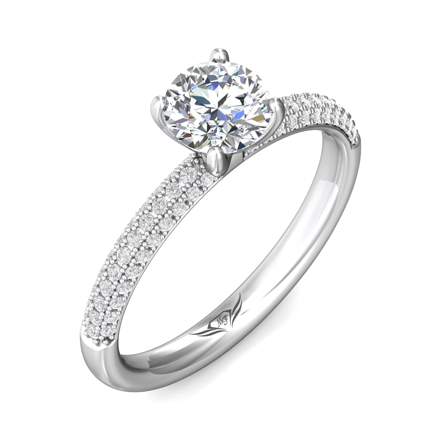 Rings - 14K White Gold FlyerFit Micropave Engagement Ring - image #5