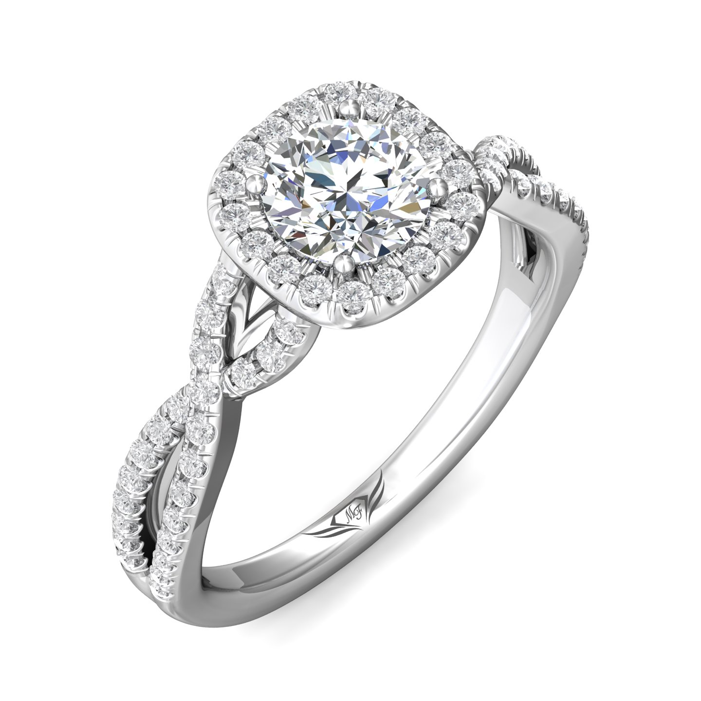 Rings - 14K White Gold FlyerFit Split Shank Engagement Ring - image 5