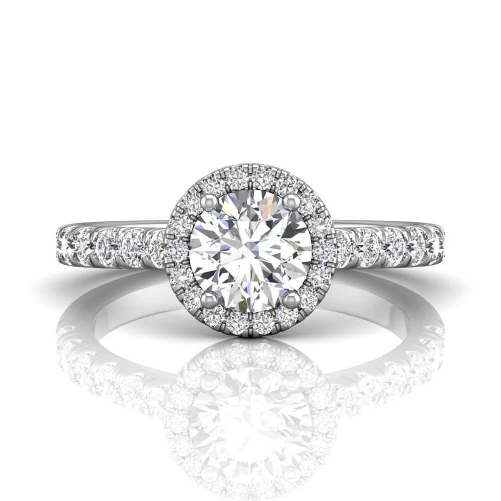 Rings - 14K White Gold FlyerFit Micropave Halo Engagement Ring
