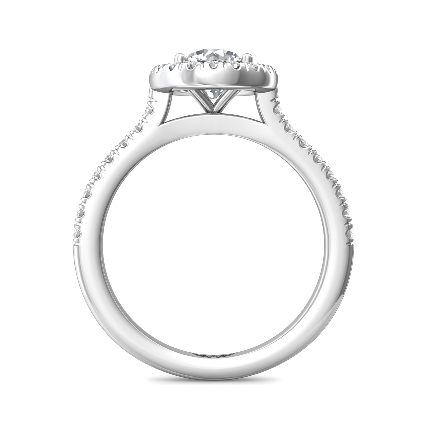 Rings - 14K White Gold FlyerFit Micropave Halo Engagement Ring - image 2