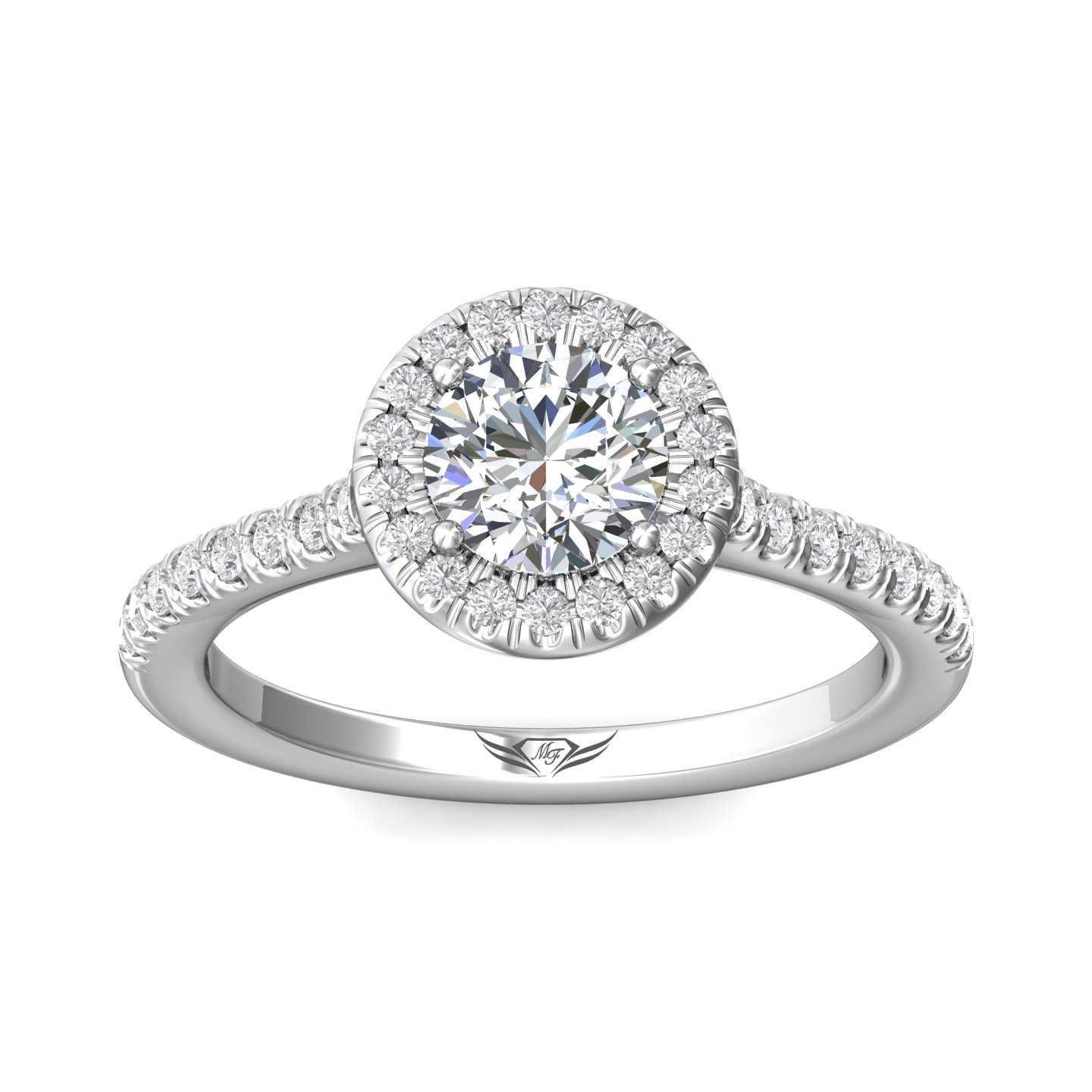 Rings - 14K White Gold FlyerFit Micropave Halo Engagement Ring - image 3