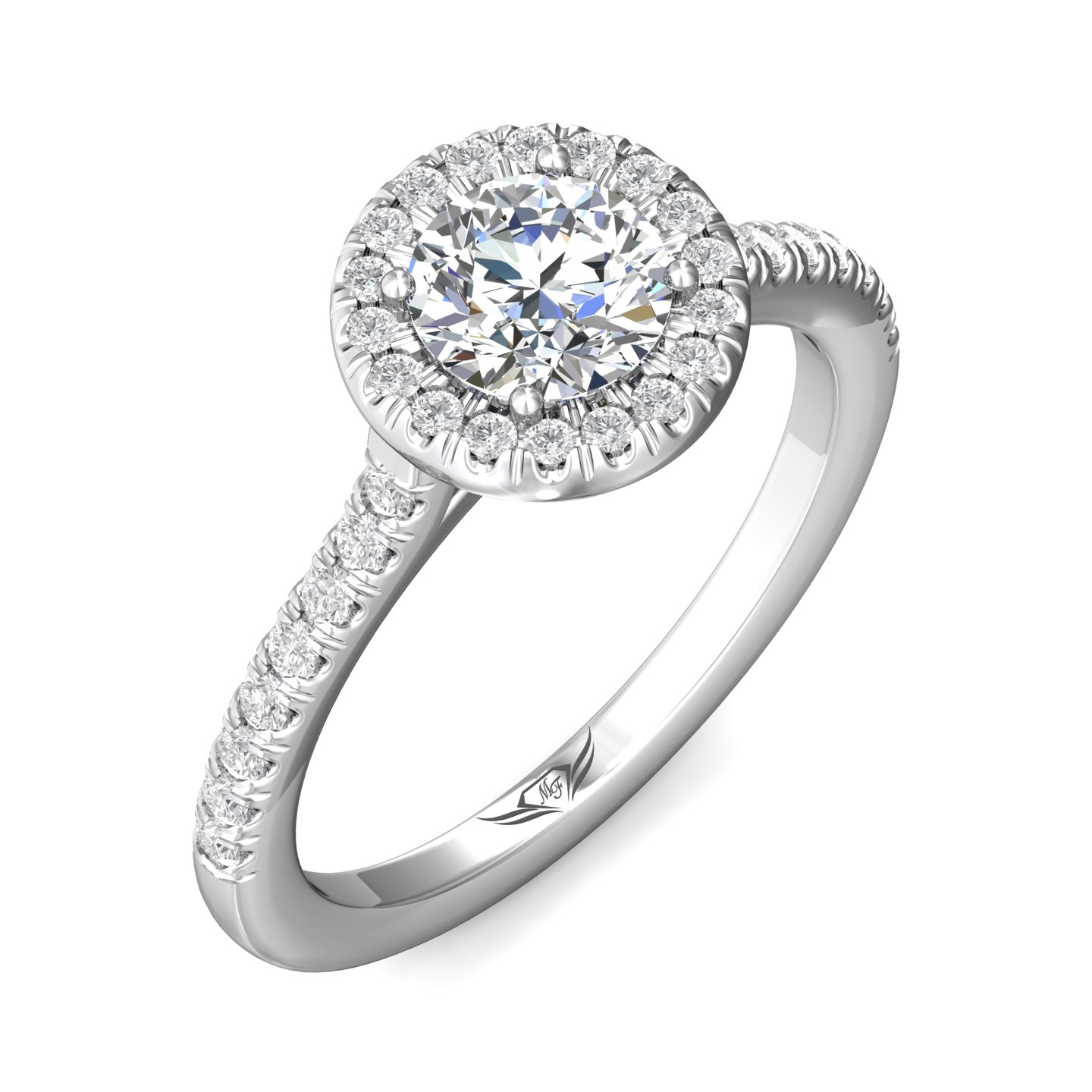 Rings - 14K White Gold FlyerFit Micropave Halo Engagement Ring - image 5