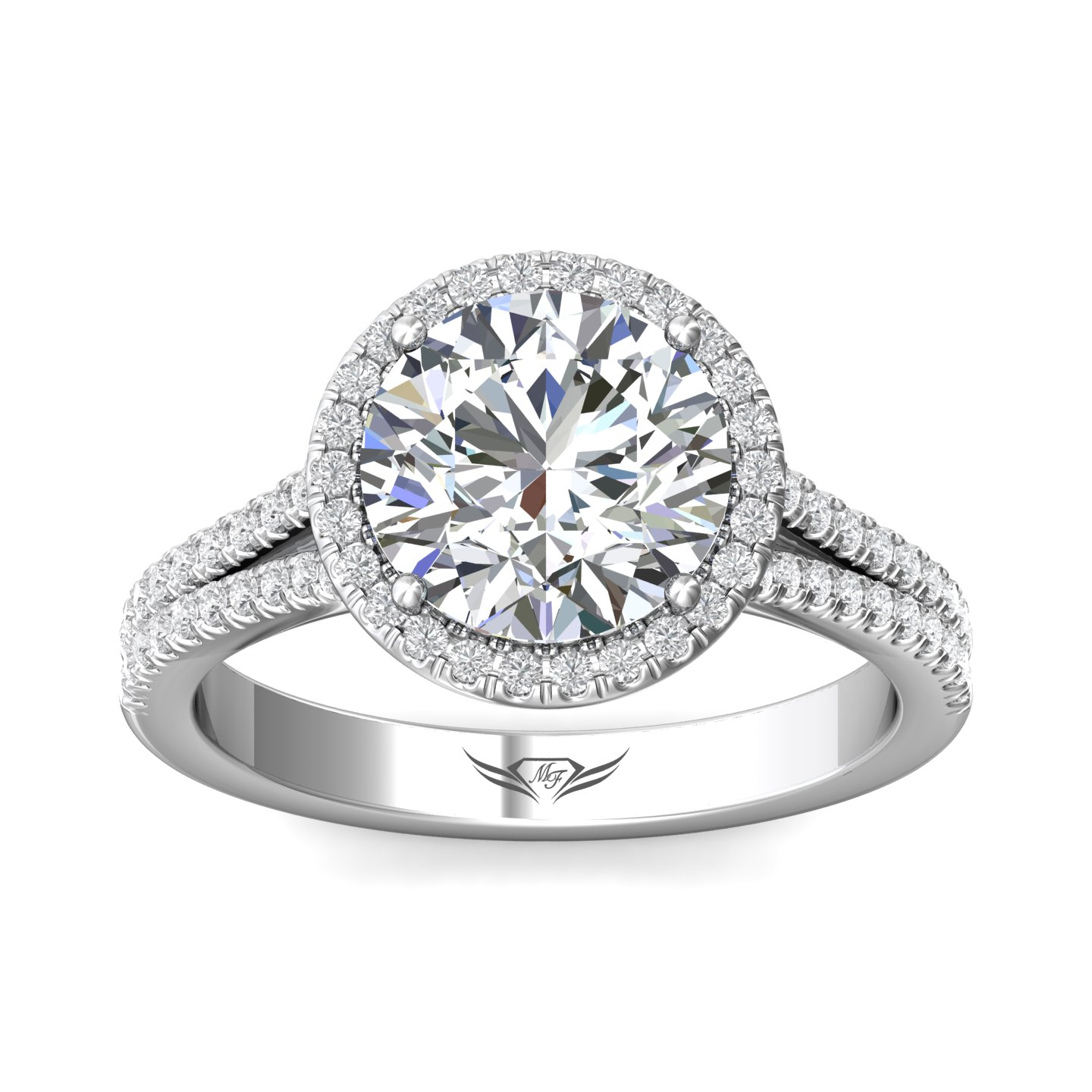 Rings - 14K White Gold FlyerFit Split Shank Engagement Ring - image #3