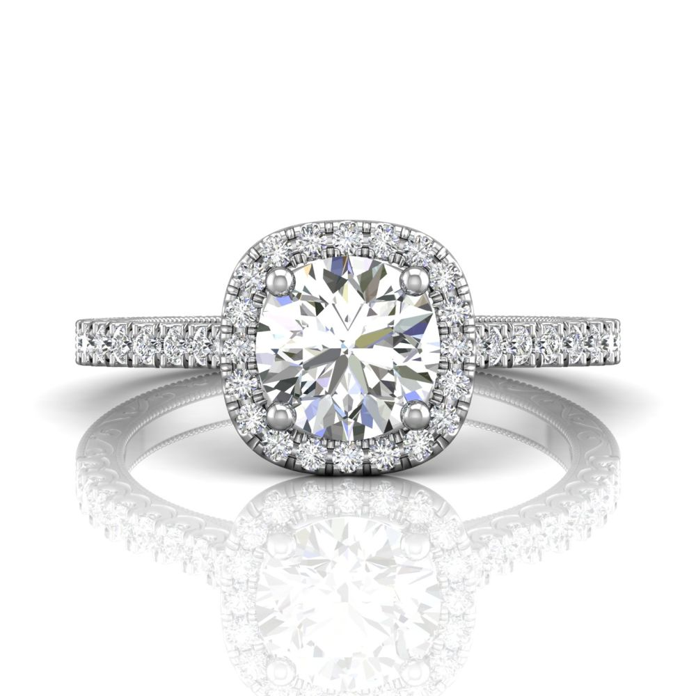 Rings - 14K White Gold FlyerFit Vintage Engagement Ring