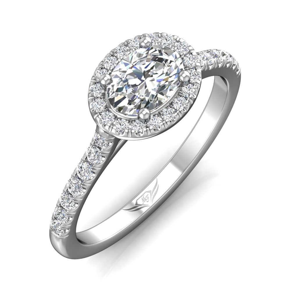 Rings - 14K White Gold FlyerFit Micropave Halo Engagement Ring - image #5