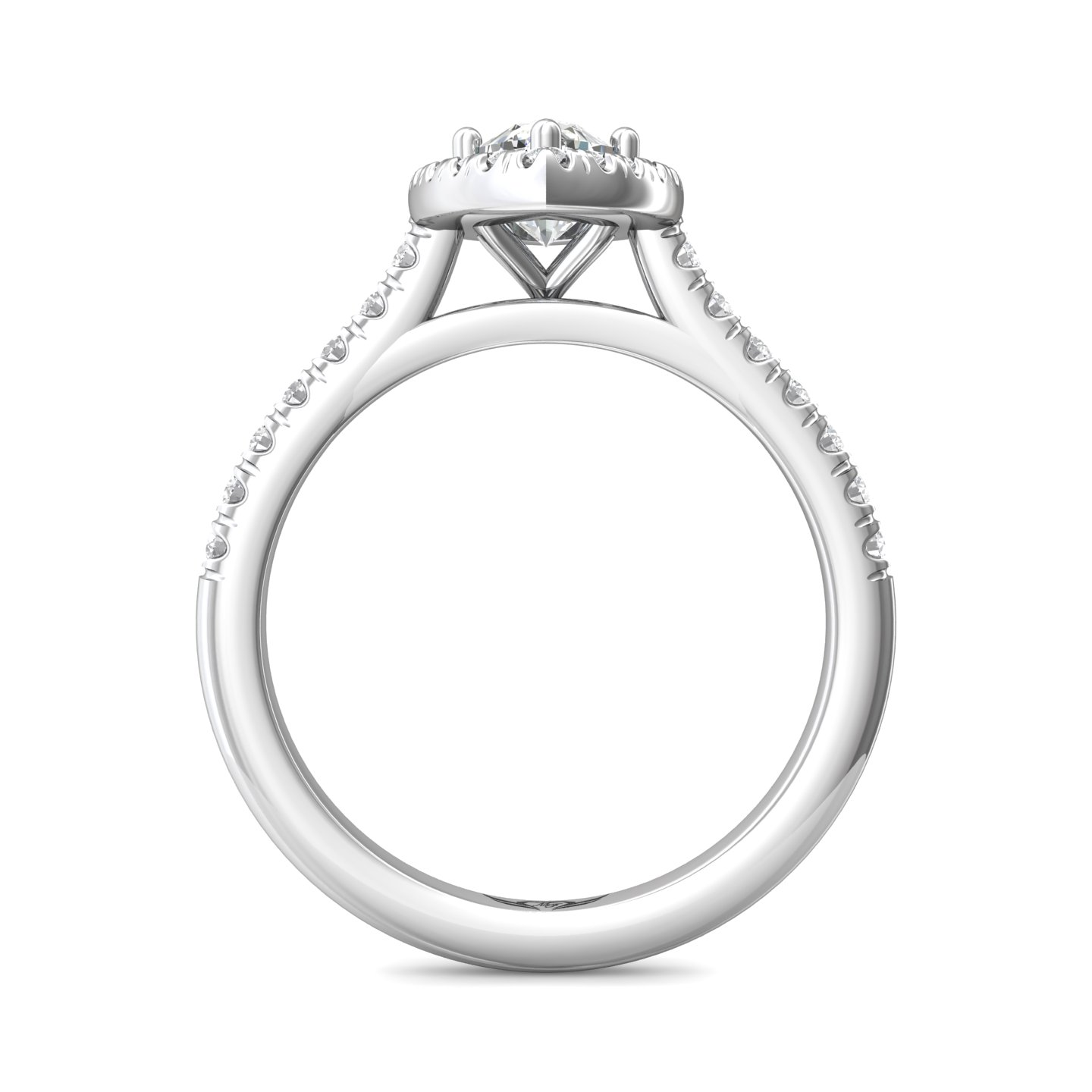 Rings - 14K White Gold FlyerFit Micropave Halo Engagement Ring - image #2