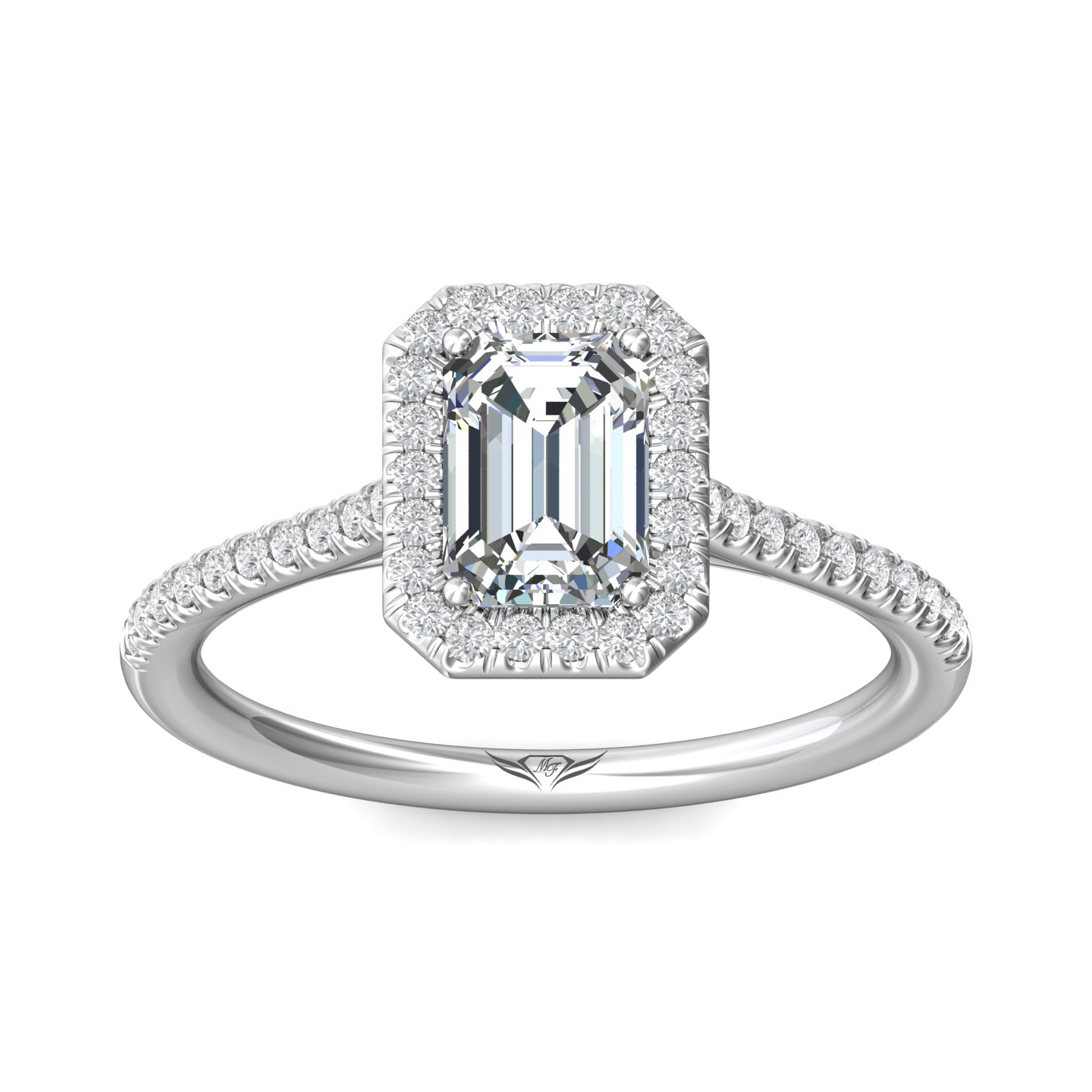 Rings - 14K White Gold FlyerFit Micropave Halo Engagement Ring - image #3