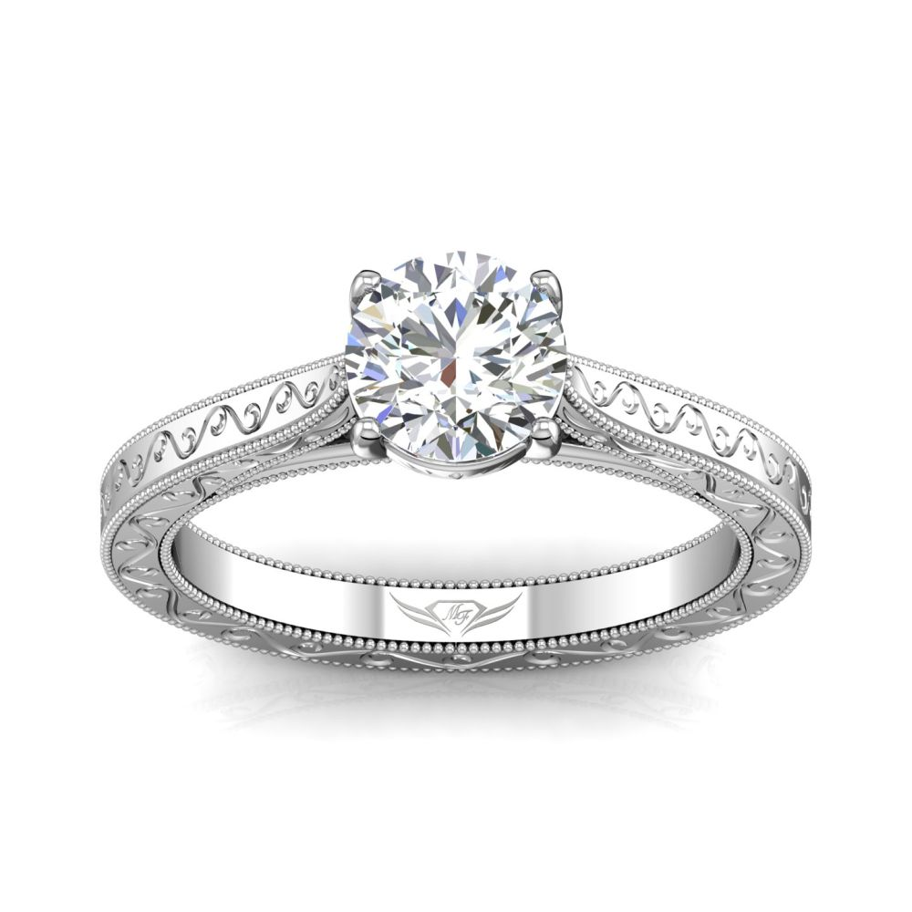 Rings - 14K White Gold FlyerFit Vintage Engagement Ring - image #3