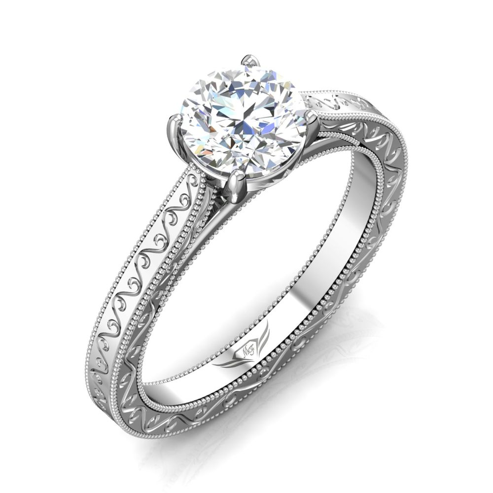 Rings - 14K White Gold FlyerFit Vintage Engagement Ring - image #5