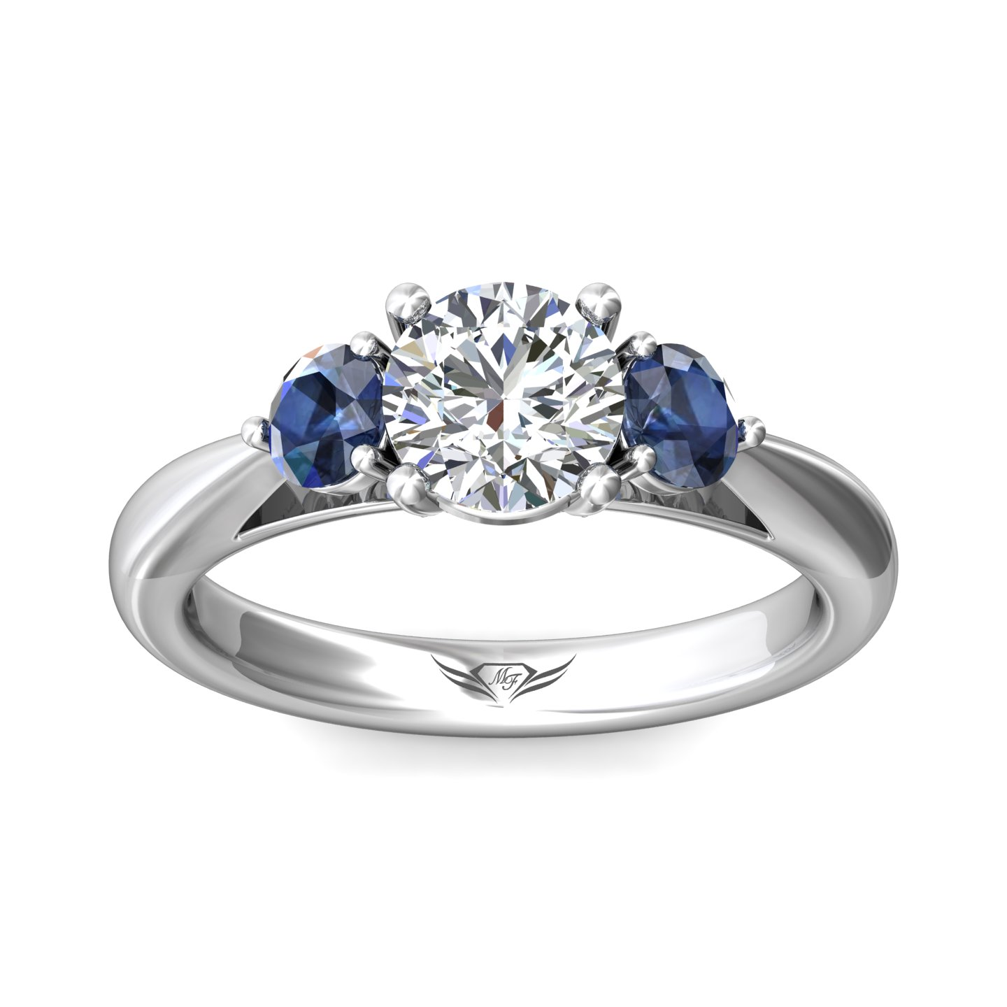 Rings - 14K White Gold FlyerFit Three Stone Engagement Ring - image #3
