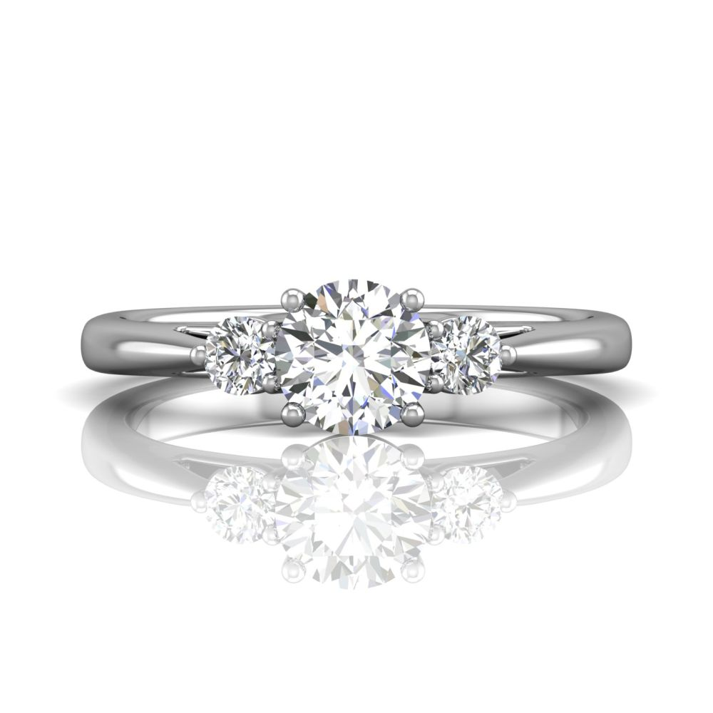 Rings - 14K White Gold FlyerFit Three Stone Engagement Ring