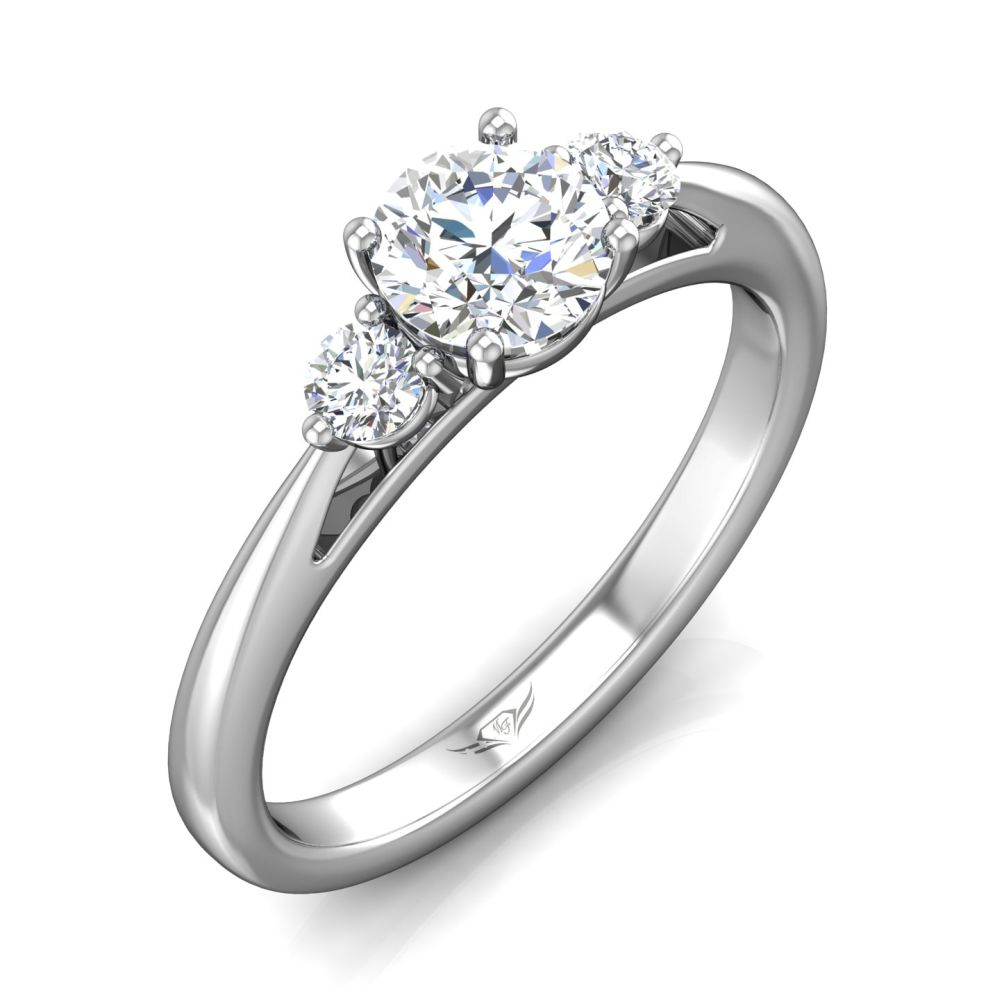Rings - 14K White Gold FlyerFit Three Stone Engagement Ring - image #5