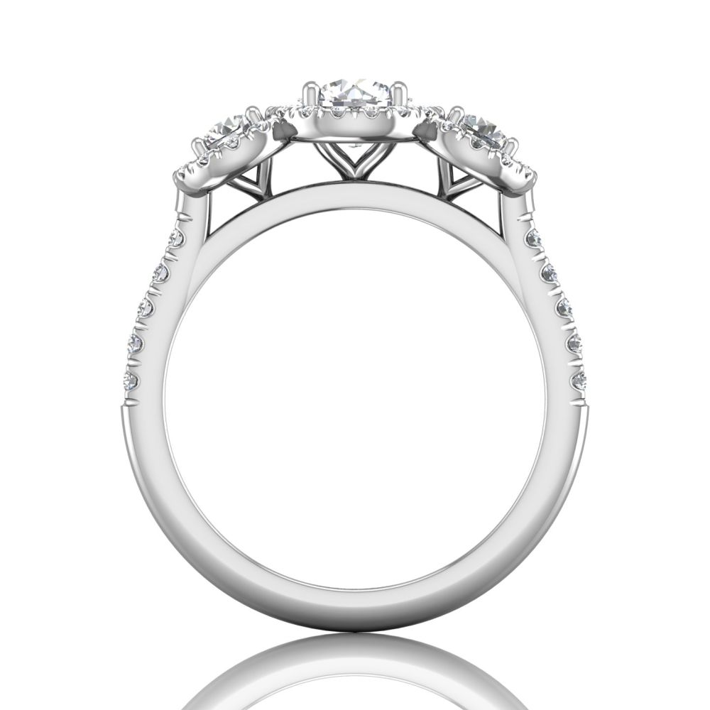 Rings - 14K White Gold FlyerFit Three Stone Engagement Ring - image #2