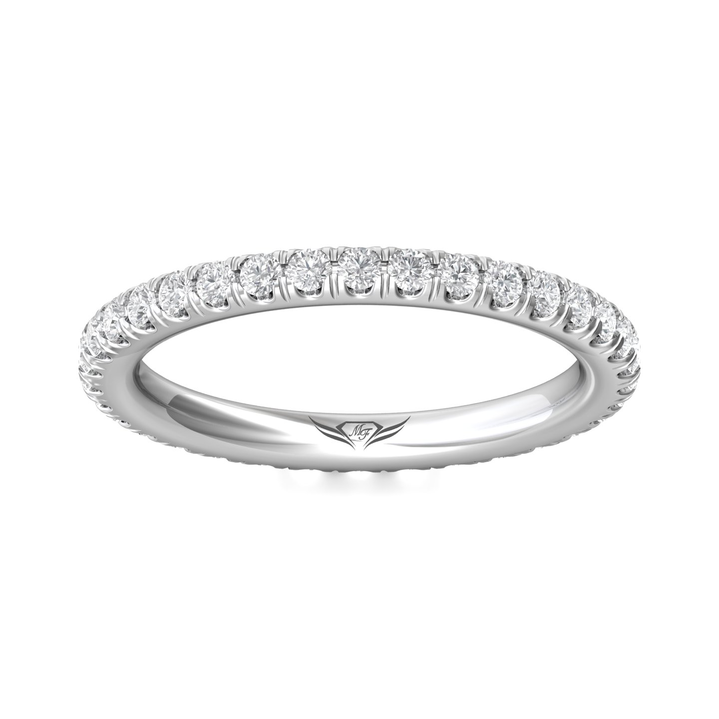 Rings - 14K White Gold FlyerFit Eternity Wedding Band - image 3