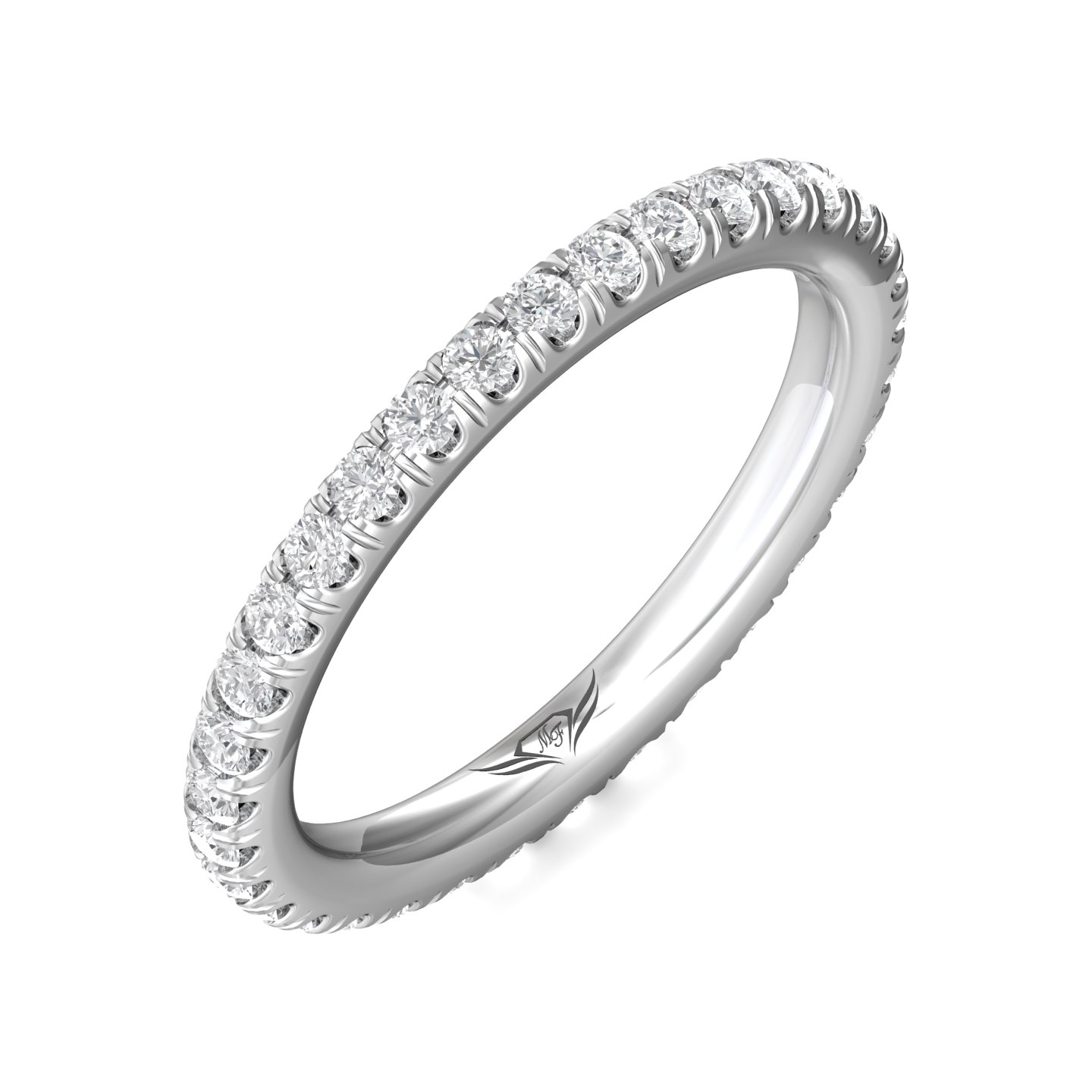 Rings - 14K White Gold FlyerFit Eternity Wedding Band - image 5