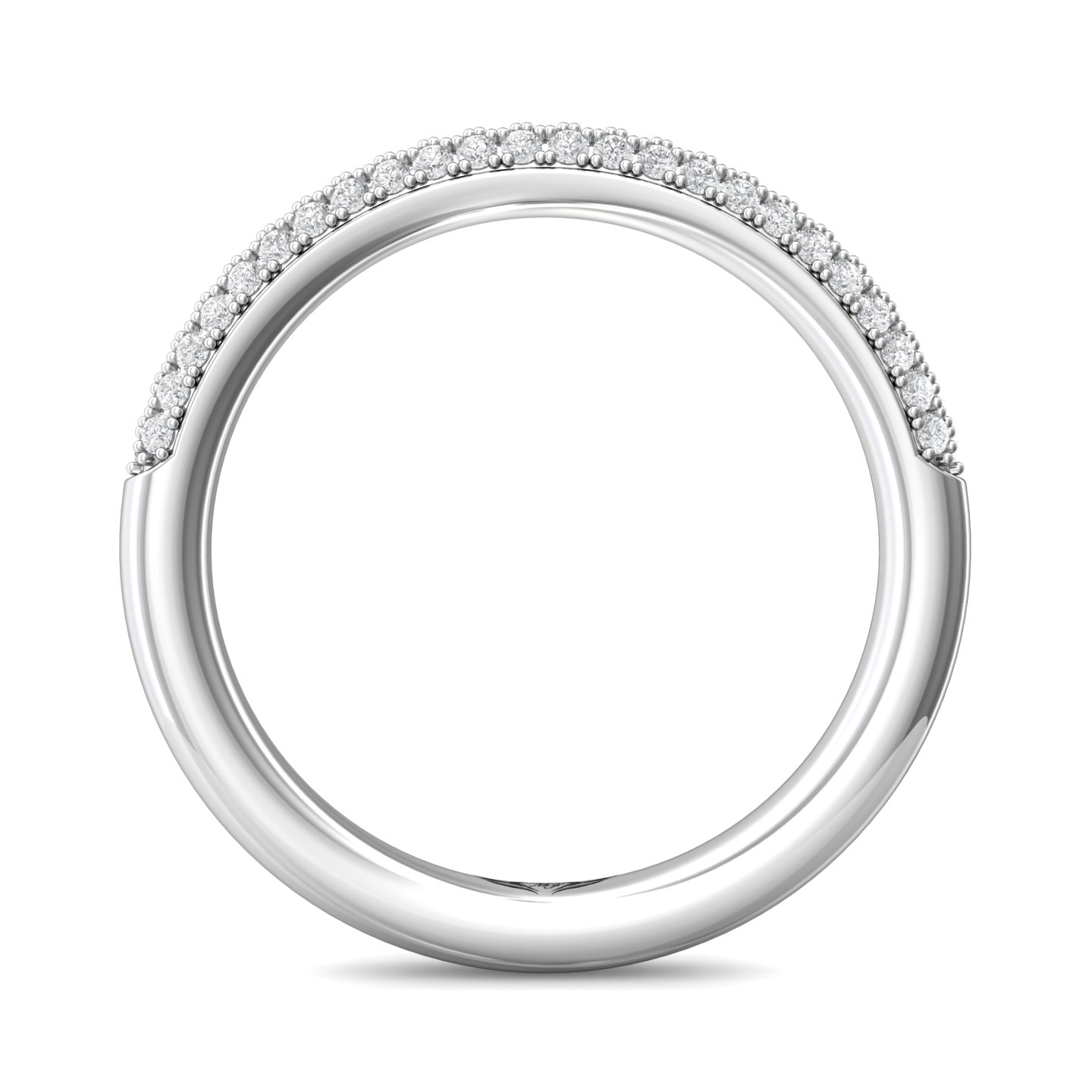 Rings - 14K White Gold FlyerFit Micropave Wedding Band - image #2