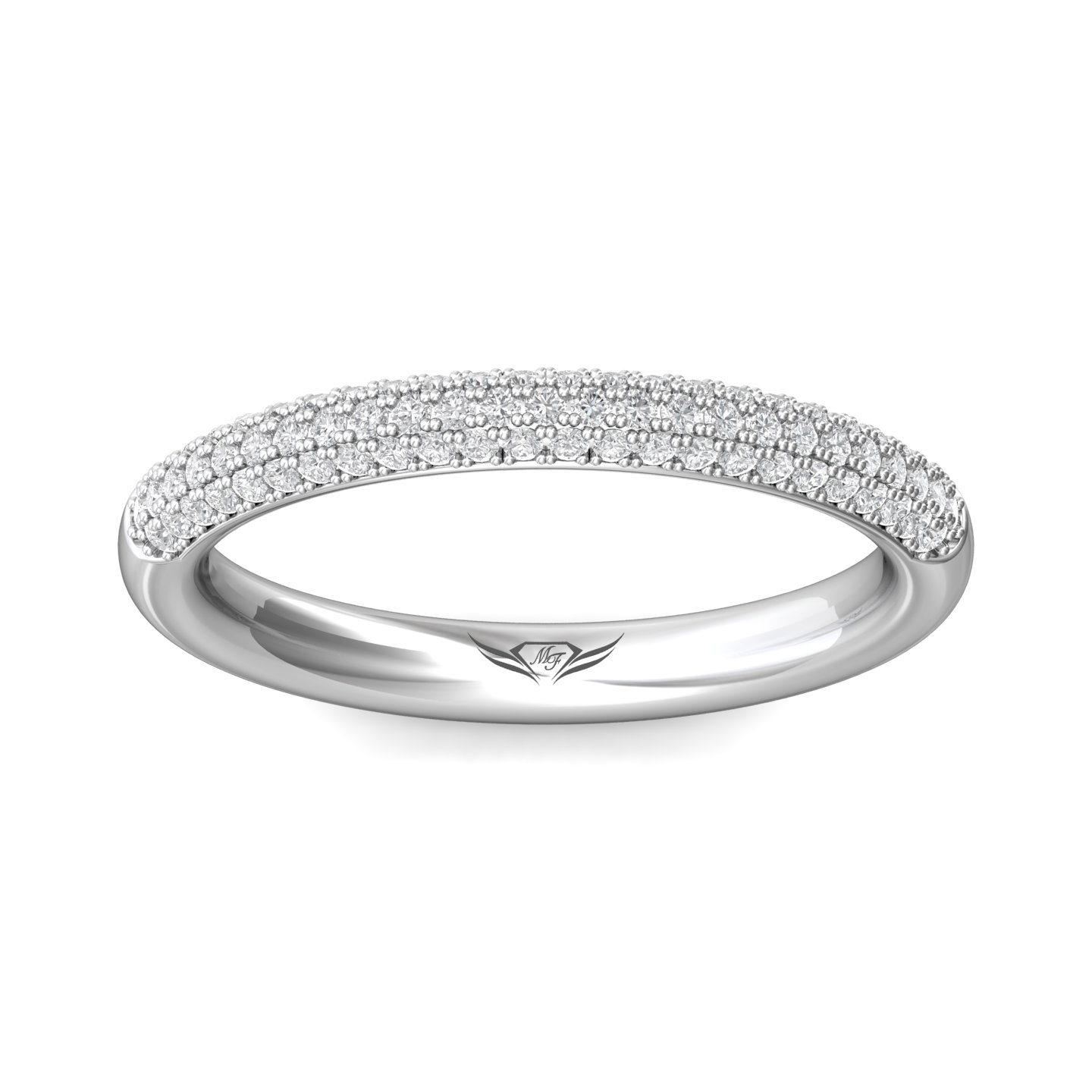 Rings - 14K White Gold FlyerFit Micropave Wedding Band - image #3