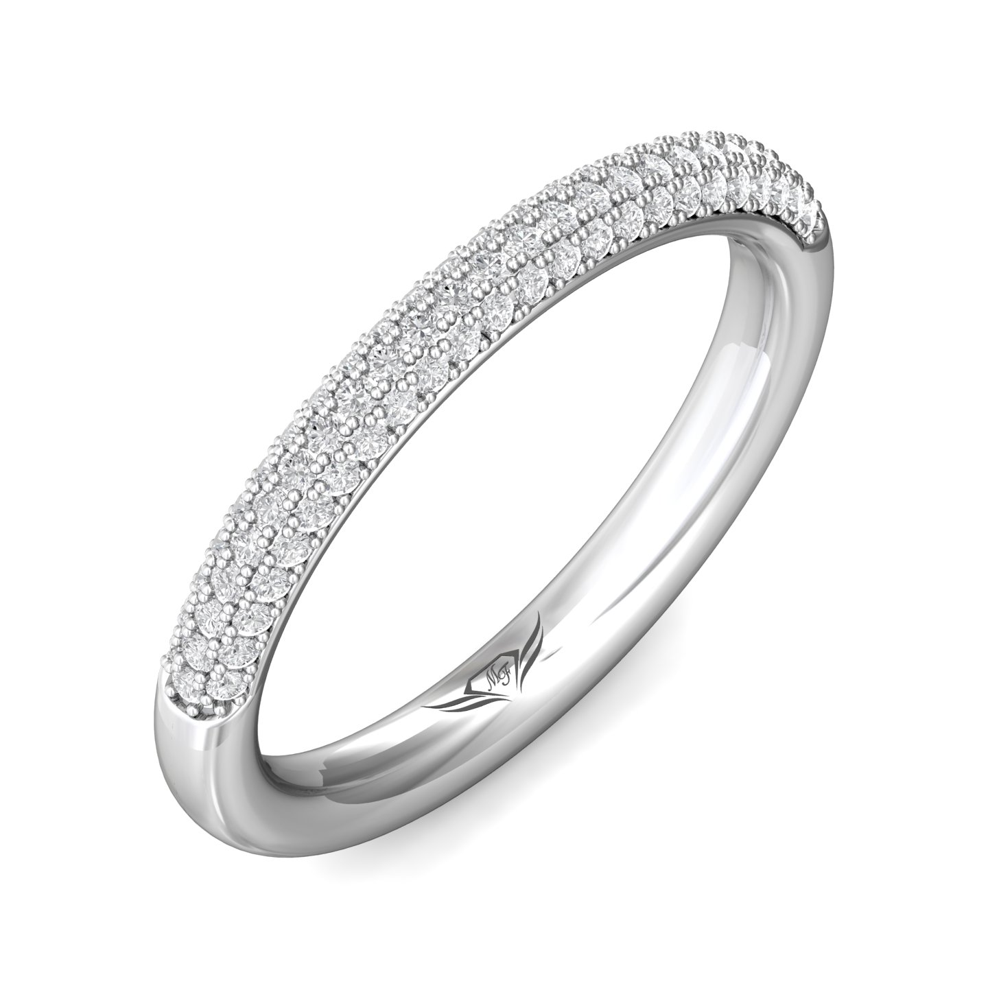 Rings - 14K White Gold FlyerFit Micropave Wedding Band - image #5