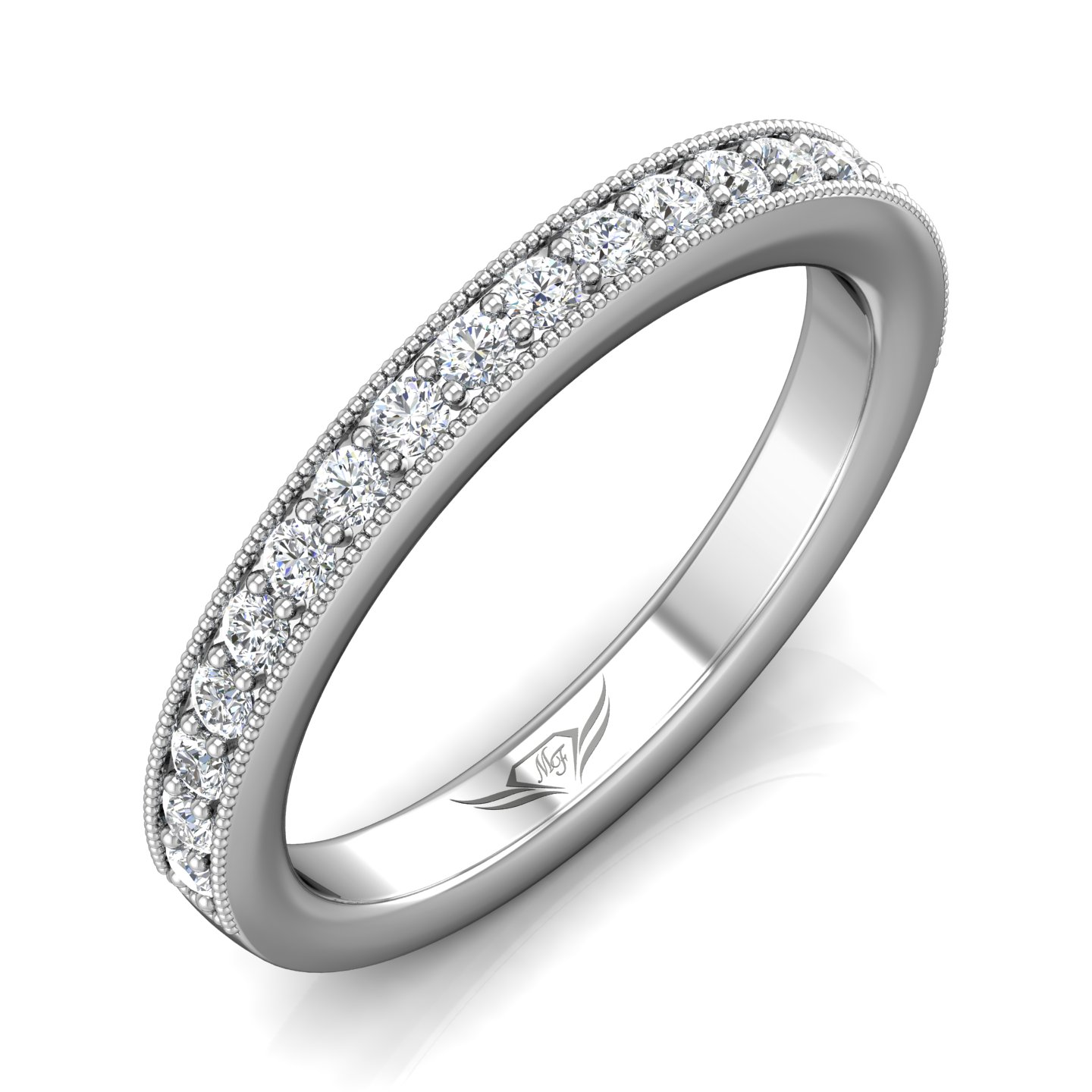 Rings - 14K White Gold FlyerFit Micropave Bead Set Wedding Band - image #5