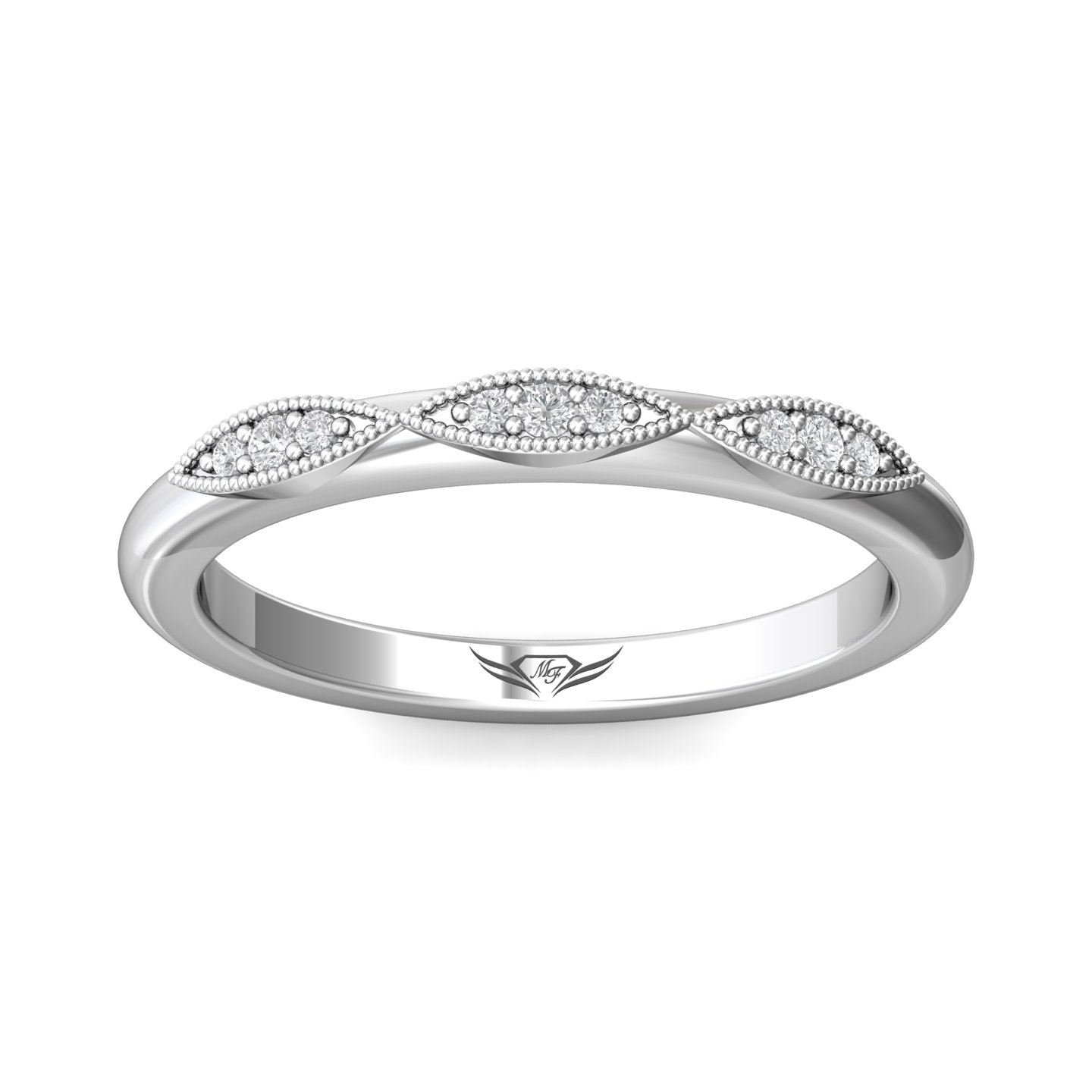 Rings - 14K White Gold FlyerFit Micropave Bead Set Wedding Band - image #3