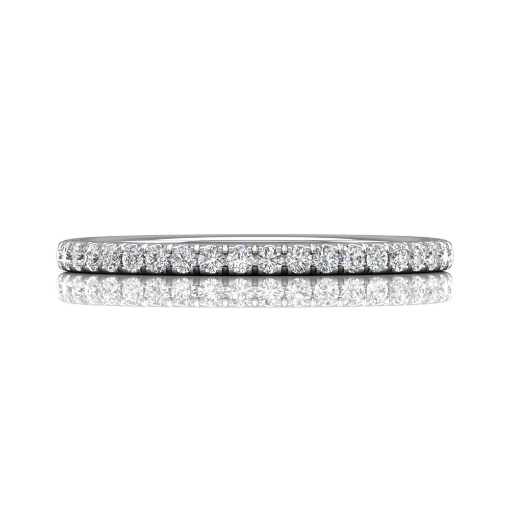 Rings - 14K White Gold FlyerFit Micropave Cutdown Wedding Band