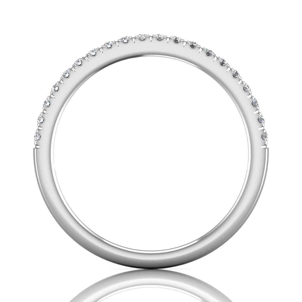 Rings - 14K White Gold FlyerFit Micropave Cutdown Wedding Band - image 2