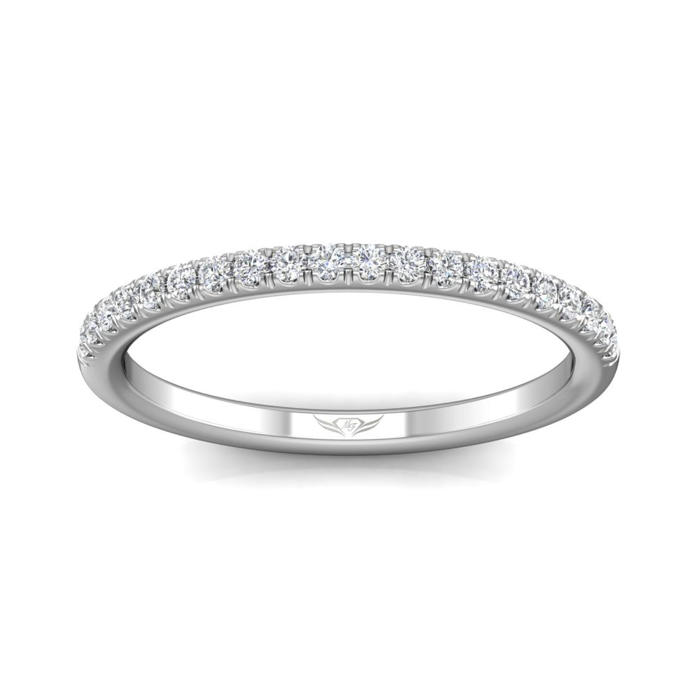 Rings - 14K White Gold FlyerFit Micropave Cutdown Wedding Band - image #3