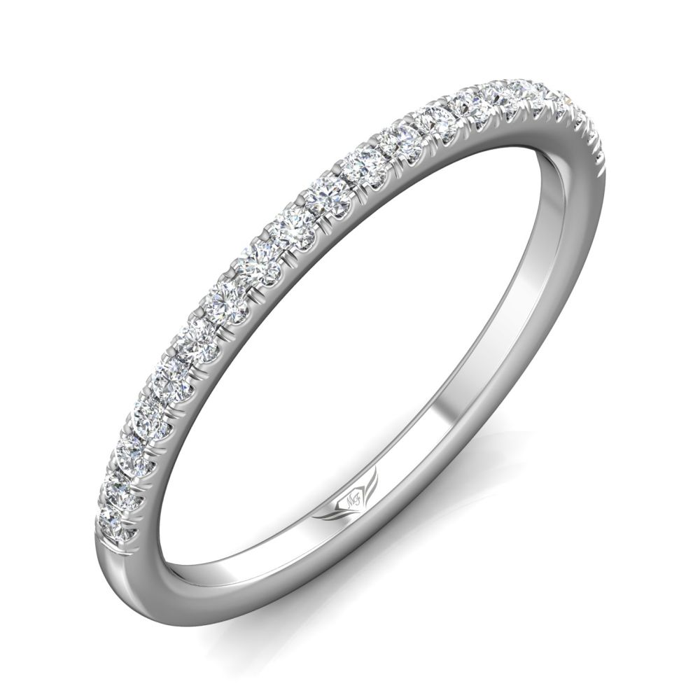 Rings - 14K White Gold FlyerFit Micropave Cutdown Wedding Band - image 5