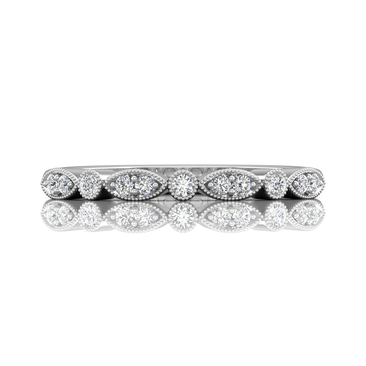 Rings - 14K White Gold FlyerFit Micropave Bead Set Wedding Band