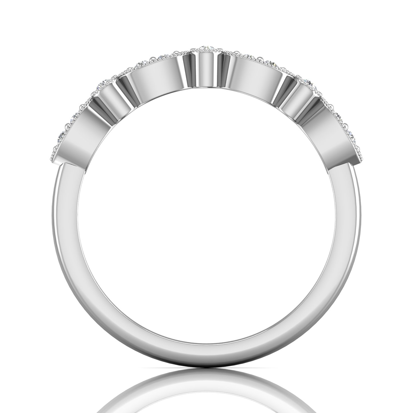 Rings - 14K White Gold FlyerFit Micropave Bead Set Wedding Band - image #2