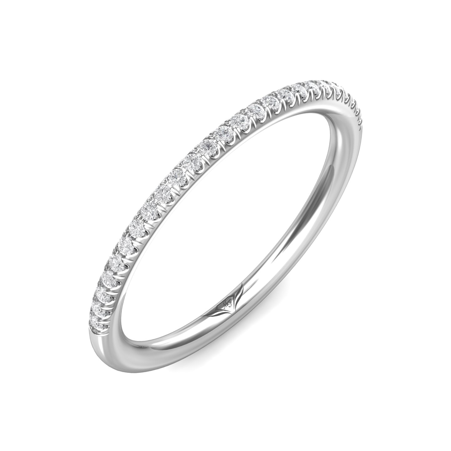 Rings - 14K White Gold FlyerFit Micropave Cutdown Wedding Band - image #5