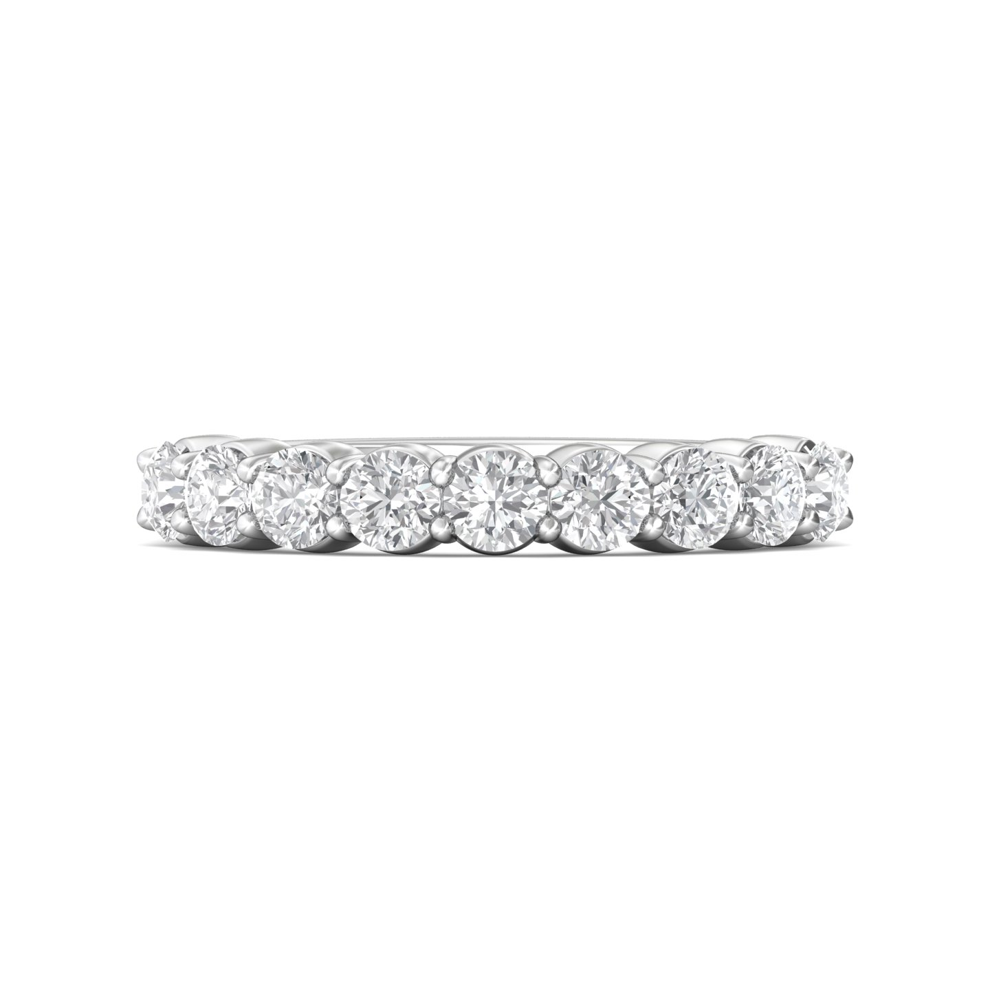 Rings - 14K White Gold FlyerFit Shared Prong Wedding Band