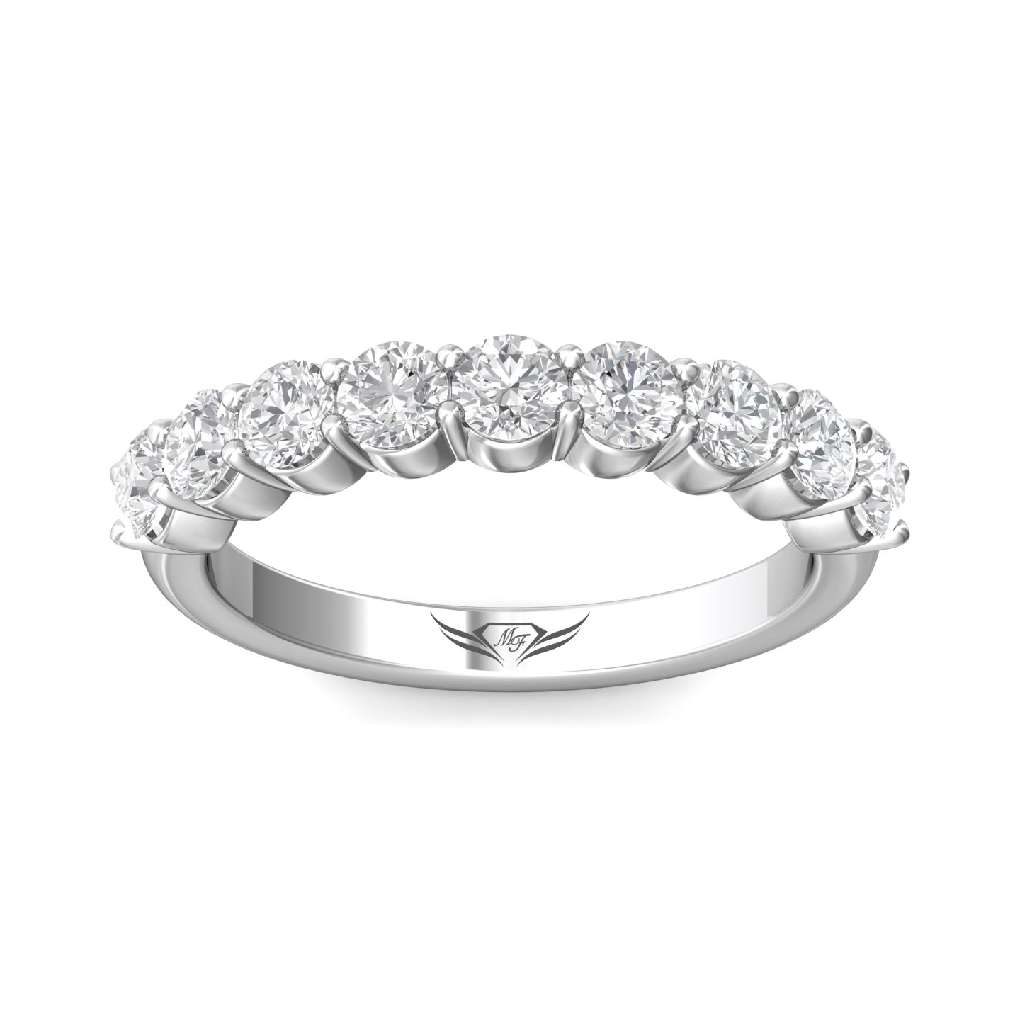 Rings - 14K White Gold FlyerFit Shared Prong Wedding Band - image #3