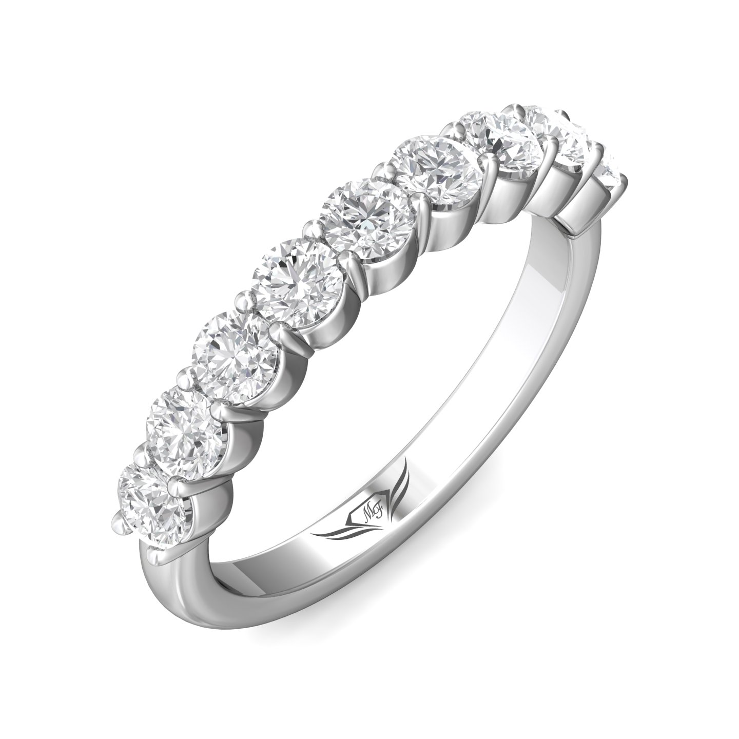 Rings - 14K White Gold FlyerFit Shared Prong Wedding Band - image #5