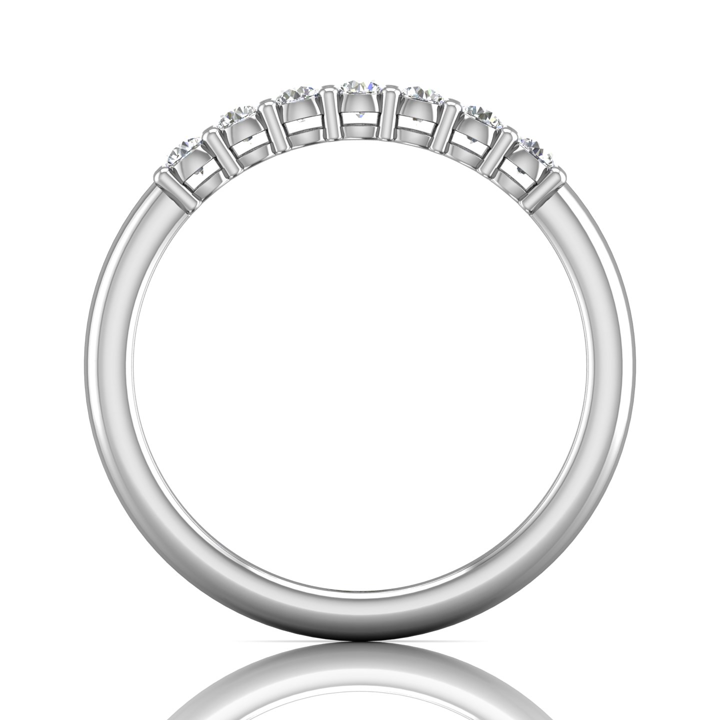 Rings - 14K White Gold FlyerFit Shared Prong Wedding Band - image #2