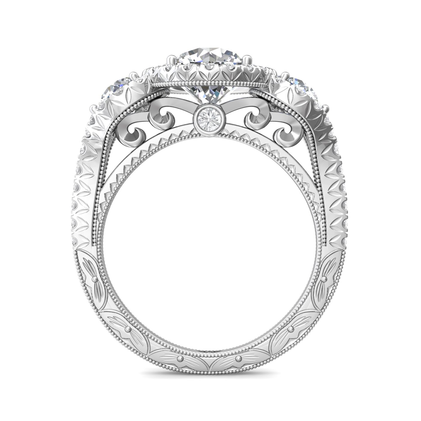 Rings - 14K White Gold FlyerFit Vintage Engagement Ring - image #2
