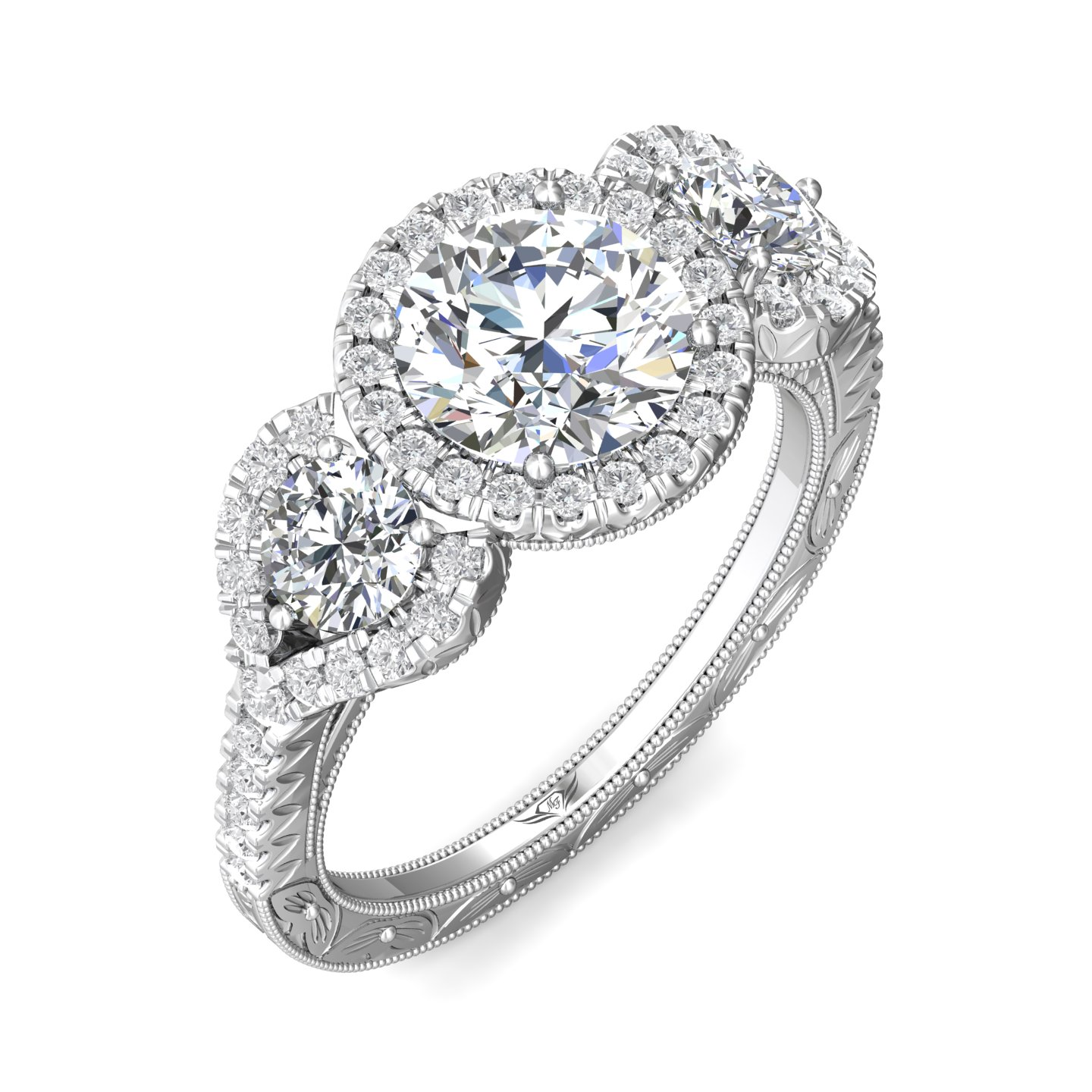 Rings - 14K White Gold FlyerFit Vintage Engagement Ring - image 5