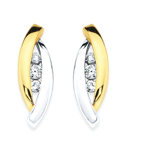 14k White And Yellow Gold Earrings Enchanted Jewelry Plainfield, CT