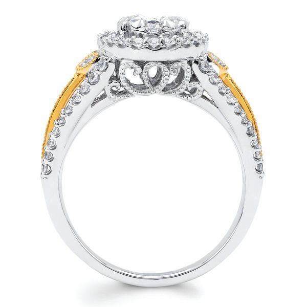 Bridal Sets - 14k White And Yellow Gold Engagement Set - image #2