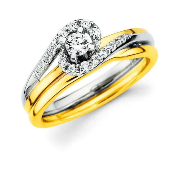 14k White And Yellow Gold Engagement Set Jones Jeweler Celina, OH