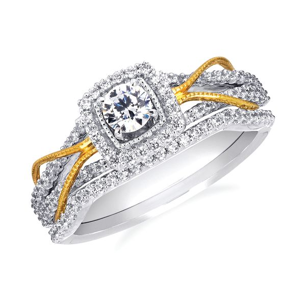 14k White And Yellow Gold Engagement Set Barnes Jewelers Goldsboro, NC
