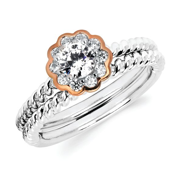 14k White And Rose Gold Engagement Set Brynn Elizabeth Jewelers Ocean Isle Beach, NC