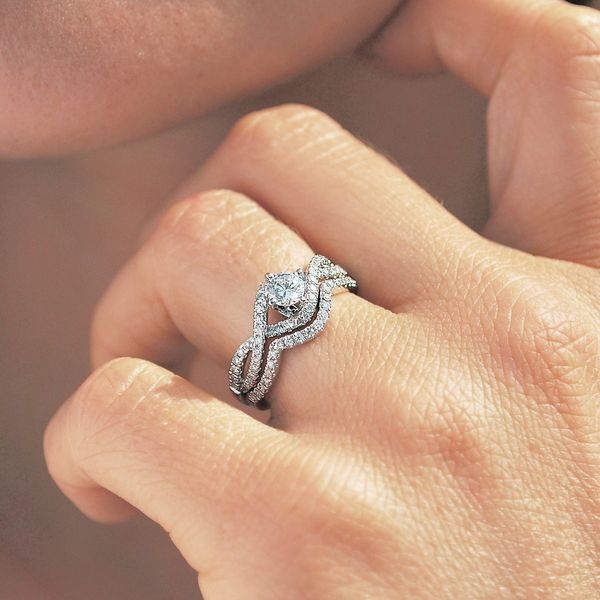 14k White Gold Engagement Set Image 2 Baker's Fine Jewelry Bryant, AR
