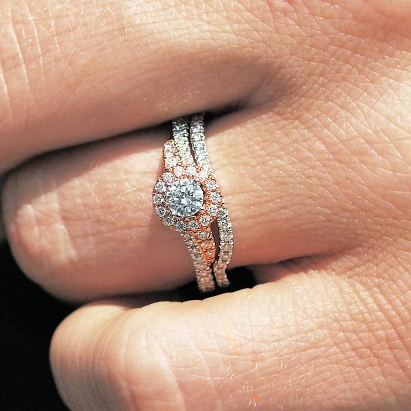14k White And Rose Gold Engagement Set Image 2 B & L Jewelers Danville, KY